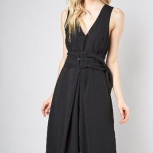 SASH-WRAPPED WAIST FRONTED JUMPSUIT
